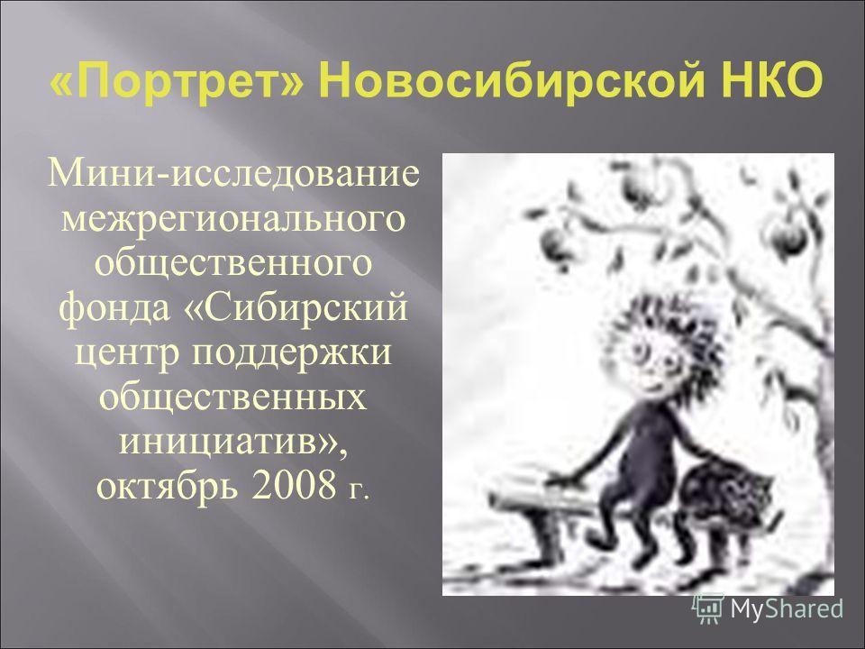 Мини-исследование межрегионального общественного фонда «Сибирский центр поддержки общественных инициатив», октябрь 2008 г. «Портрет» Новосибирской НКО