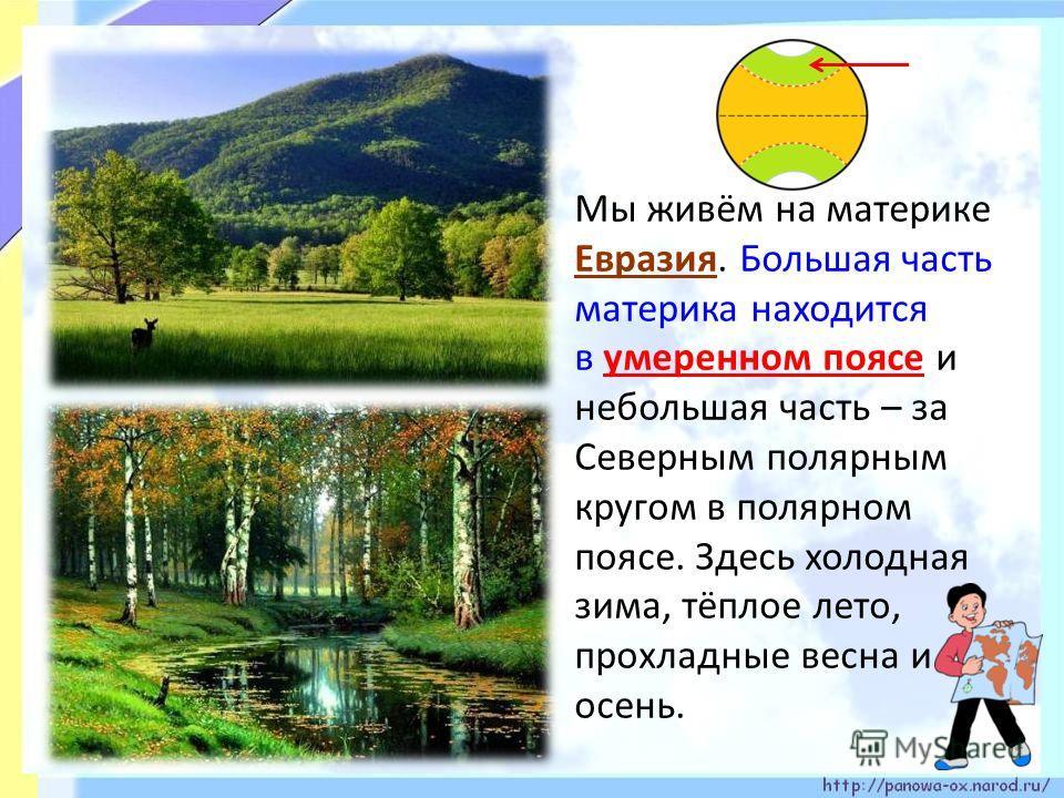 Мы живём на материке Евразия. Большая часть материка находится в умеренном поясе и небольшая часть – за Северным полярным кругом в полярном поясе. Здесь холодная зима, тёплое лето, прохладные весна и осень.