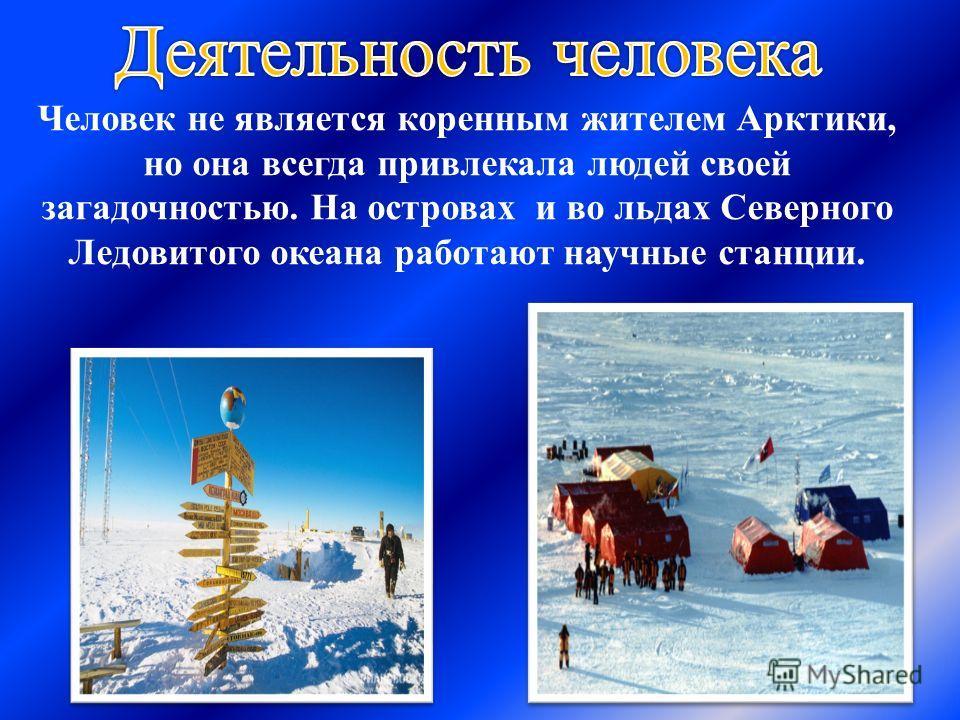 Человек не является коренным жителем Арктики, но она всегда привлекала людей своей загадочностью. На островах и во льдах Северного Ледовитого океана работают научные станции.