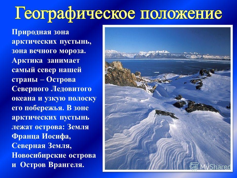 Природная зона арктических пустынь, зона вечного мороза. Арктика занимает самый север нашей страны – Острова Северного Ледовитого океана и узкую полоску его побережья. В зоне арктических пустынь лежат острова: Земля Франца Иосифа, Северная Земля, Нов