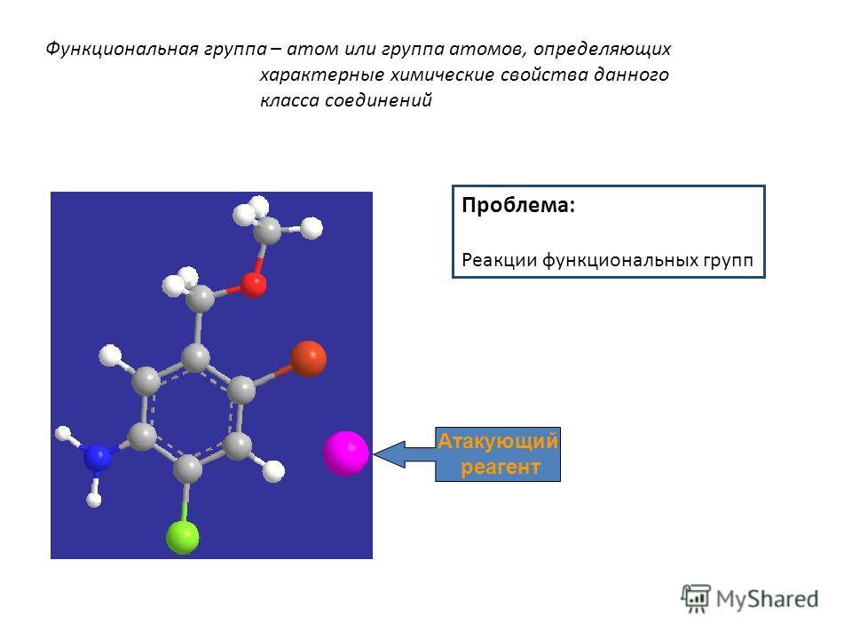 Функциональная группа – атом или группа атомов, определяющих характерные химические свойства данного класса соединений Атакующий реагент Проблема: Реакции функциональных групп