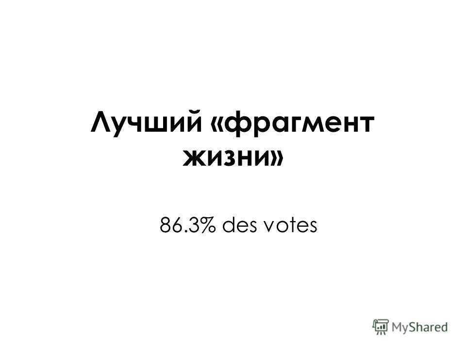 Лучший «фрагмент жизни» 86.3% des votes