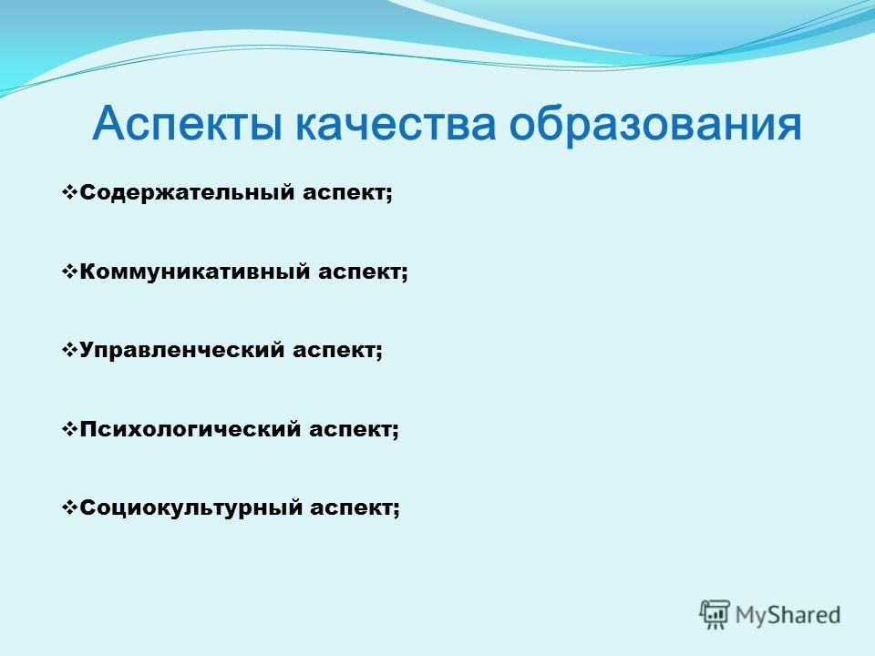 Аспекты качества образования Содержательный аспект; Коммуникативный аспект; Управленческий аспект; Психологический аспект; Социокультурный аспект;