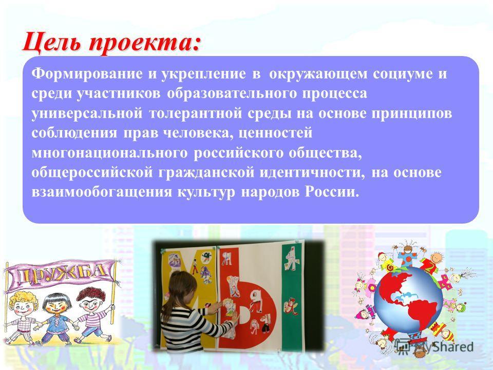 Формирование и укрепление в окружающем социуме и среди участников образовательного процесса универсальной толерантной среды на основе принципов соблюдения прав человека, ценностей многонационального российского общества, общероссийской гражданской ид