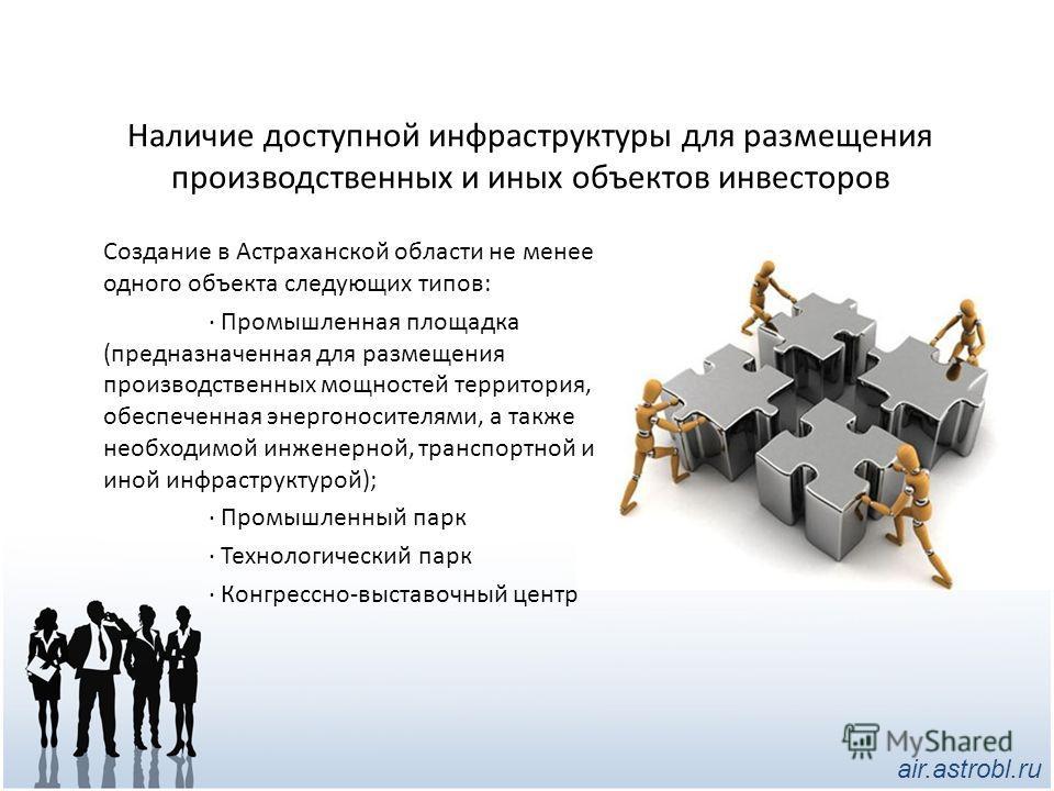 Наличие доступной инфраструктуры для размещения производственных и иных объектов инвесторов Создание в Астраханской области не менее одного объекта следующих типов: · Промышленная площадка (предназначенная для размещения производственных мощностей те