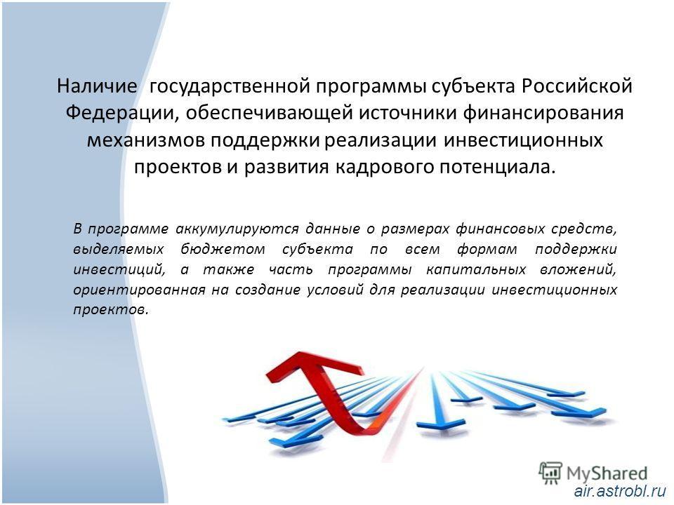 Наличие государственной программы субъекта Российской Федерации, обеспечивающей источники финансирования механизмов поддержки реализации инвестиционных проектов и развития кадрового потенциала. В программе аккумулируются данные о размерах финансовых