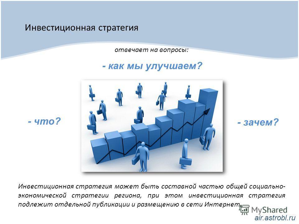 Инвестиционная стратегия Инвестиционная стратегия может быть составной частью общей социально- экономической стратегии региона, при этом инвестиционная стратегия подлежит отдельной публикации и размещению в сети Интернет. отвечает на вопросы: - что?