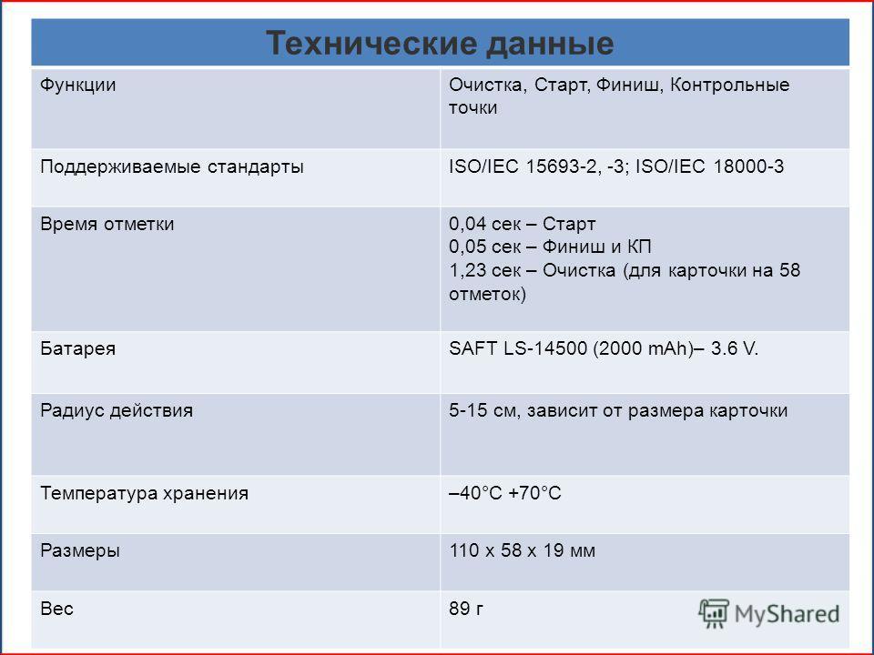 Технические данные ФункцииОчистка, Старт, Финиш, Контрольные точки Поддерживаемые стандартыISO/IEC 15693-2, -3; ISO/IEC 18000-3 Время отметки0,04 сек – Старт 0,05 сек – Финиш и КП 1,23 сек – Очистка (для карточки на 58 отметок) БатареяSAFT LS-14500 (