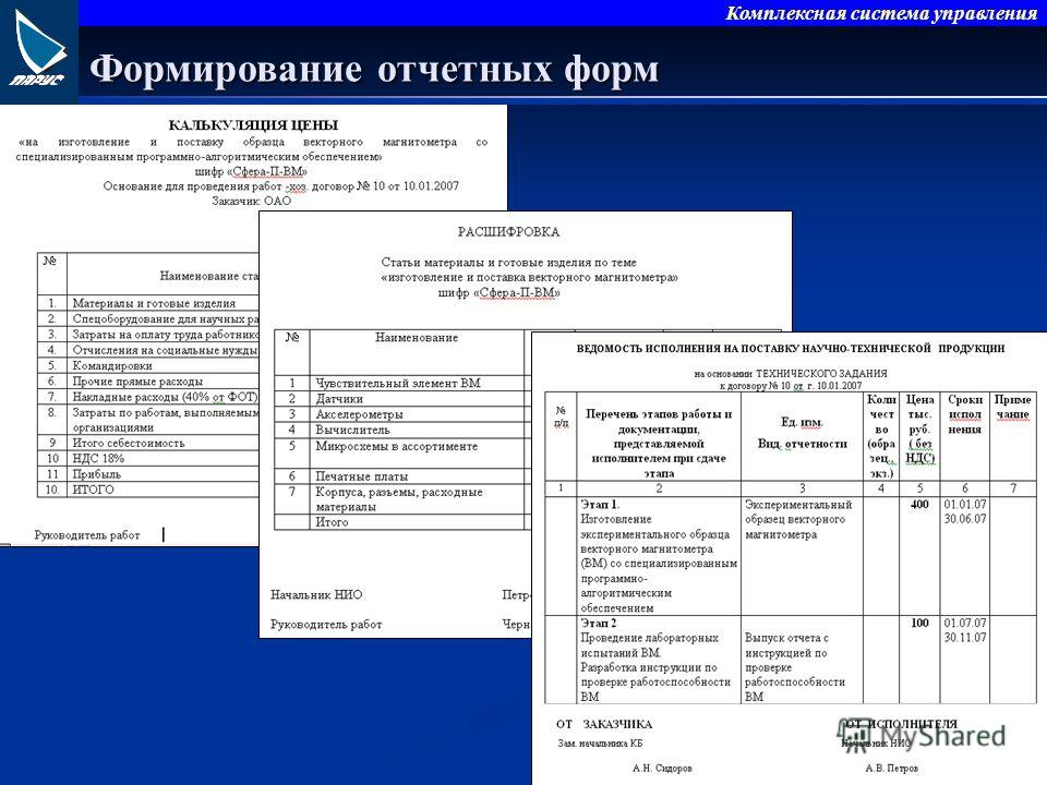 Формирование отчетных форм Комплексная система управления