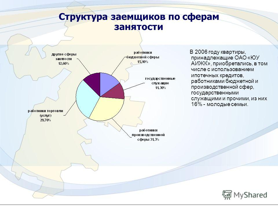 10 Структура заемщиков по сферам занятости В 2006 году квартиры, принадлежащие ОАО «ЮУ АИЖК», приобретались, в том числе с использованием ипотечных кредитов, работниками бюджетной и производственной сфер, государственными служащими и прочими, из них
