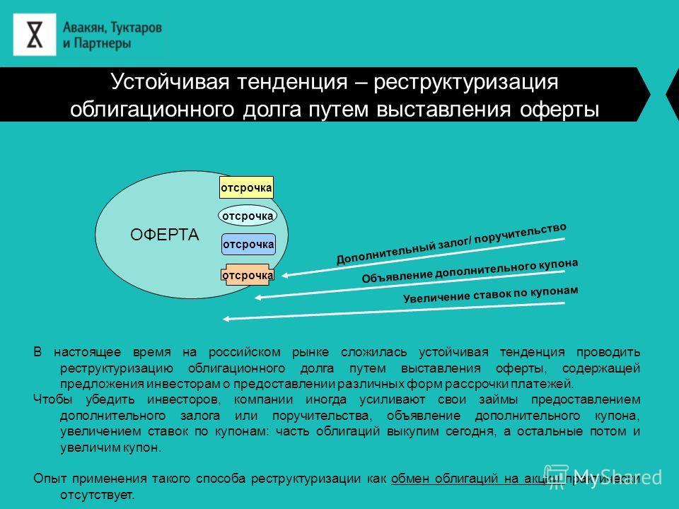 Устойчивая тенденция – реструктуризация облигационного долга путем выставления оферты В настоящее время на российском рынке сложилась устойчивая тенденция проводить реструктуризацию облигационного долга путем выставления оферты, содержащей предложени