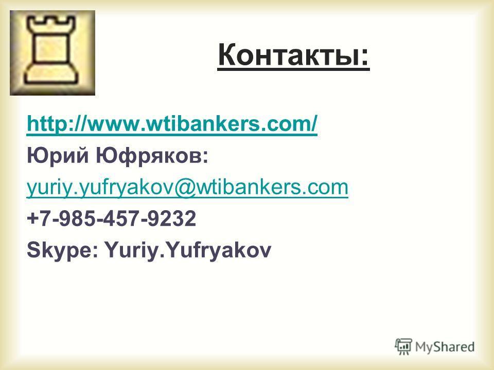 Контакты: http://www.wtibankers.com/ Юрий Юфряков: yuriy.yufryakov@wtibankers.com +7-985-457-9232 Skype: Yuriy.Yufryakov