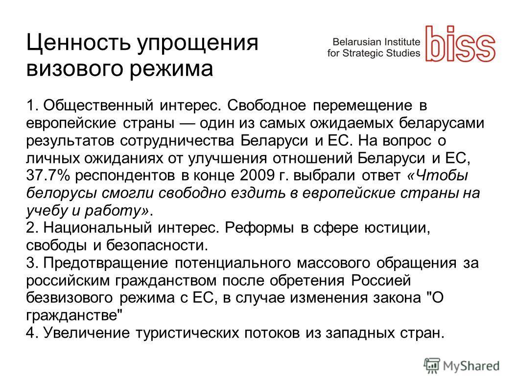 Ценность упрощения визового режима 1. Общественный интерес. Свободное перемещение в европейские страны один из самых ожидаемых беларусами результатов сотрудничества Беларуси и ЕС. На вопрос о личных ожиданиях от улучшения отношений Беларуси и ЕС, 37.