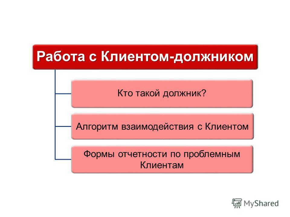 Работа с Клиентом-должником Кто такой должник? Алгоритм взаимодействия с Клиентом Формы отчетности по проблемным Клиентам