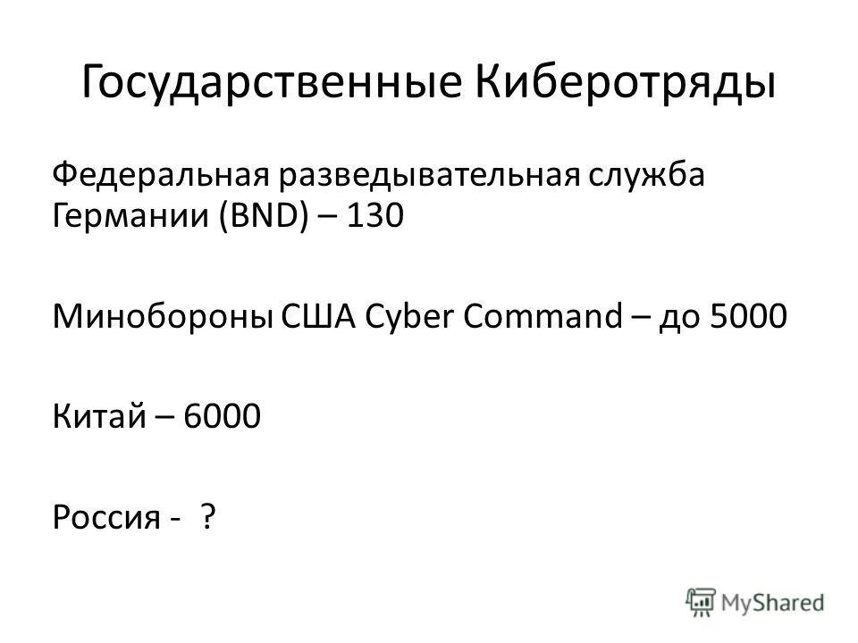 Государственные Киберотряды Федеральная разведывательная служба Германии (BND) – 130 Минобороны США Cyber Command – до 5000 Китай – 6000 Россия - ?