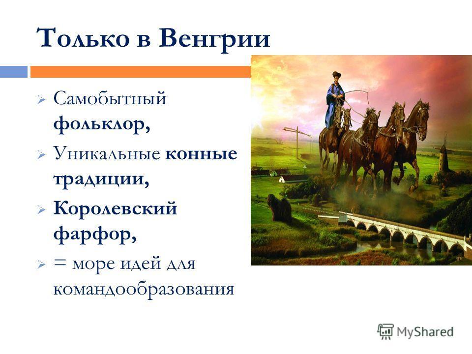 Только в Венгрии Самобытный фольклор, Уникальные конные традиции, Королевский фарфор, = море идей для командообразования