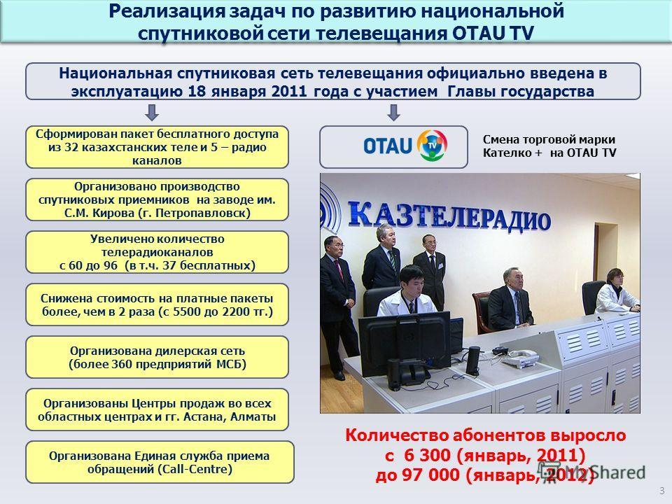 Реализация задач по развитию национальной спутниковой сети телевещания OTAU TV Реализация задач по развитию национальной спутниковой сети телевещания OTAU TV 3 Национальная спутниковая сеть телевещания официально введена в эксплуатацию 18 января 2011