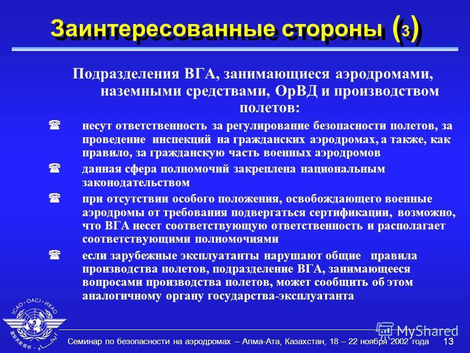 Семинар по безопасности на аэродромах – Алма-Ата, Казахстан, 18 – 22 ноября 2002 года 13 Заинтересованные стороны ( 3 ) Подразделения ВГА, занимающиеся аэродромами, наземными средствами, ОрВД и производством полетов: (несут ответственность за регулир