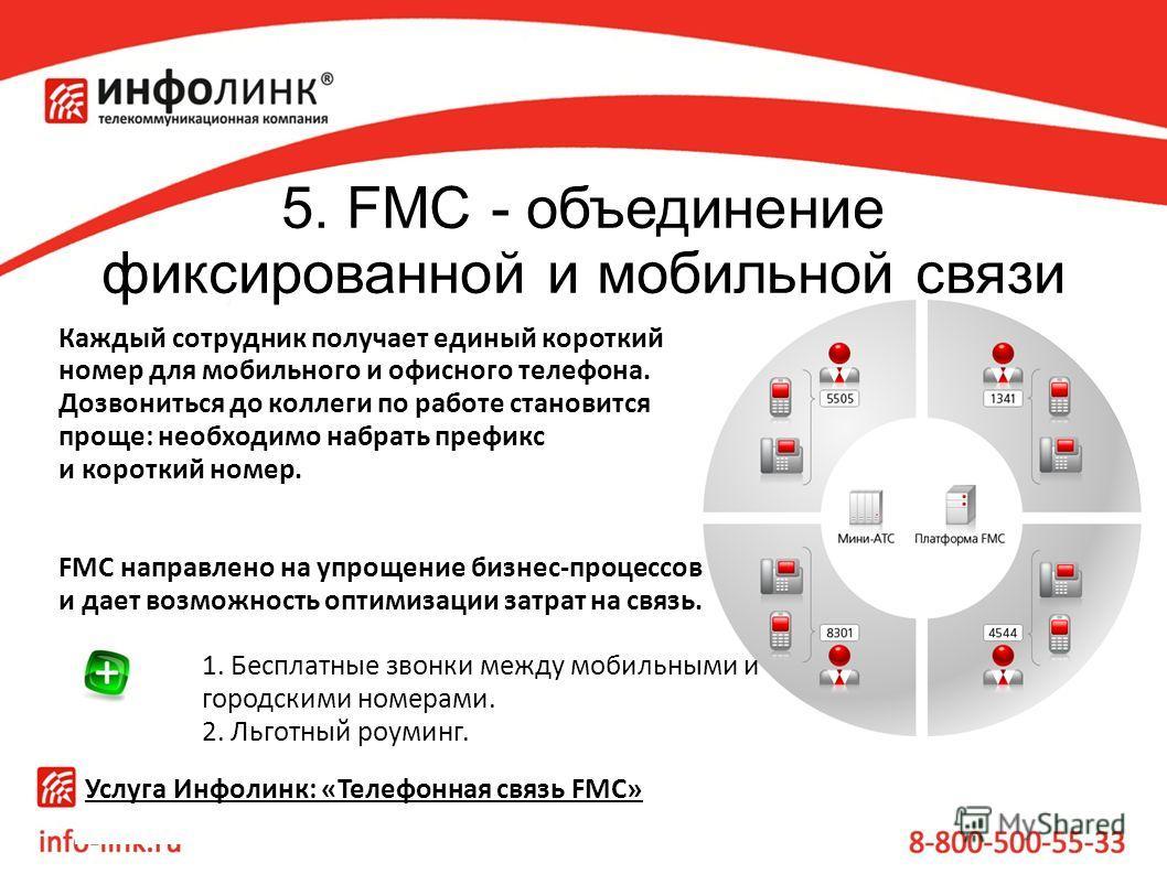 5. FMC - объединение фиксированной и мобильной связи Каждый сотрудник получает единый короткий номер для мобильного и офисного телефона. Дозвониться до коллеги по работе становится проще: необходимо набрать префикс и короткий номер. FMC направлено на