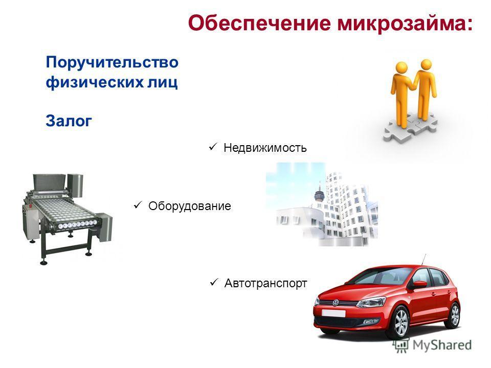 Обеспечение микрозайма: Поручительство физических лиц Залог Недвижимость Оборудование Автотранспорт