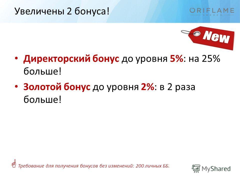 Увеличены 2 бонуса! Директорский бонус до уровня 5%: на 25% больше! Золотой бонус до уровня 2%: в 2 раза больше! Требование для получения бонусов без изменений: 200 личных ББ.