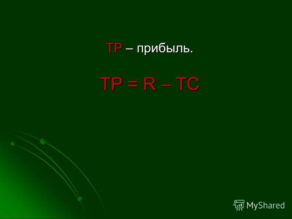 ТP – прибыль. ТР = R – ТС