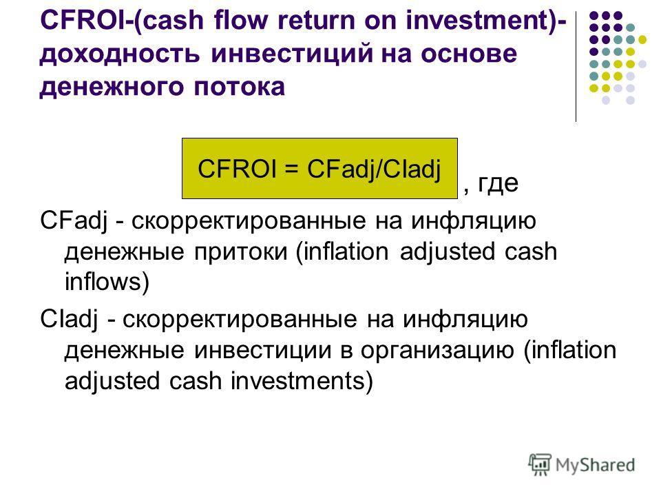 CFROI-(cash flow return on investment)- доходность инвестиций на основе денежного потока, где CFadj - скорректированные на инфляцию денежные притоки (inflation adjusted cash inflows) CIadj - скорректированные на инфляцию денежные инвестиции в организ