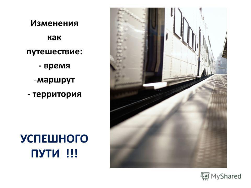 Изменения как путешествие: - время -маршрут - территория УСПЕШНОГО ПУТИ !!!