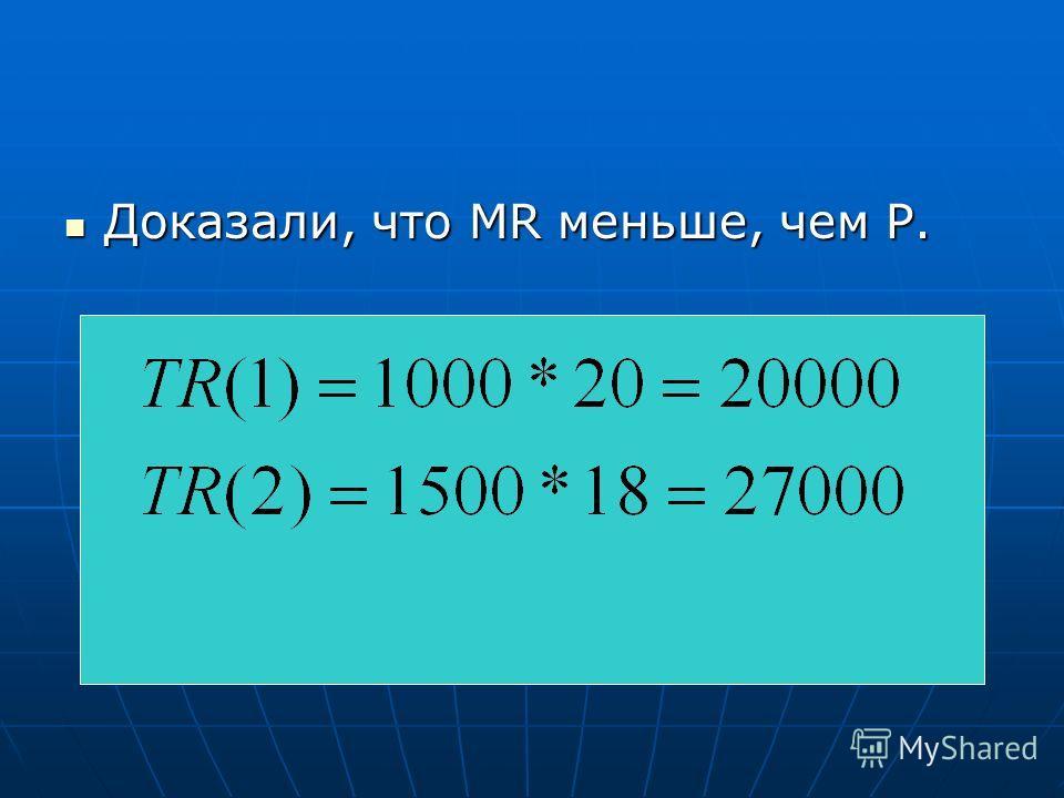 Доказали, что MR меньше, чем Р. Доказали, что MR меньше, чем Р.