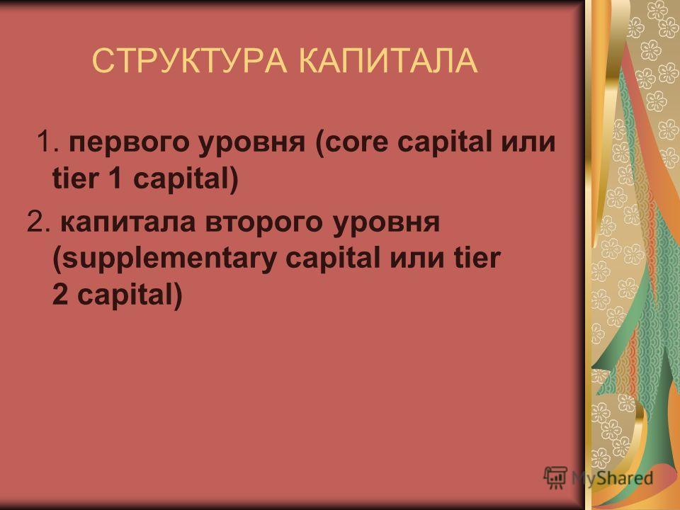 СТРУКТУРА КАПИТАЛА 1. первого уровня (core capital или tier 1 capital) 2. капитала второго уровня (supplementary capital или tier 2 capital)