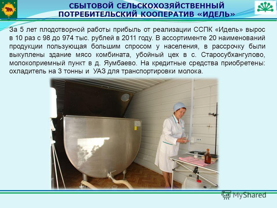 СБЫТОВОЙ СЕЛЬСКОХОЗЯЙСТВЕННЫЙ ПОТРЕБИТЕЛЬСКИЙ КООПЕРАТИВ «ИДЕЛЬ» За 5 лет плодотворной работы прибыль от реализации ССПК «Идель» вырос в 10 раз с 98 до 974 тыс. рублей в 2011 году. В ассортименте 20 наименований продукции пользующая большим спросом у