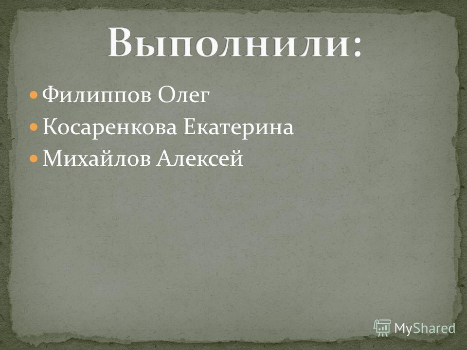 Филиппов Олег Косаренкова Екатерина Михайлов Алексей