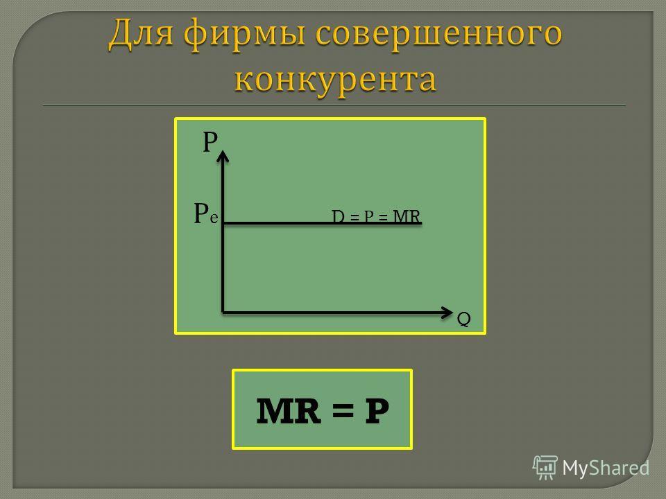 Р Р е D = Р = MR Q MR = P