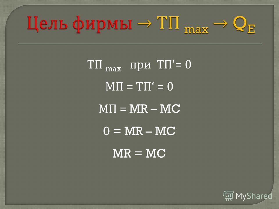 ТП max при ТП '= 0 МП = ТП = 0 МП = MR – MC 0 = MR – MC MR = MC