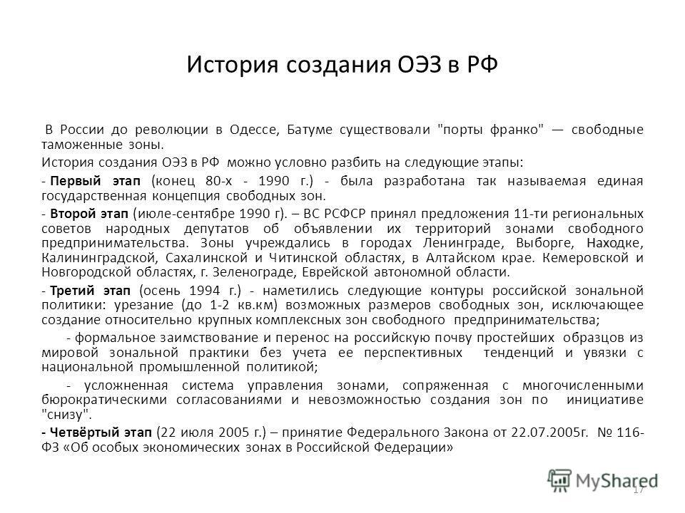 История создания ОЭЗ в РФ В России до революции в Одессе, Батуме существовали