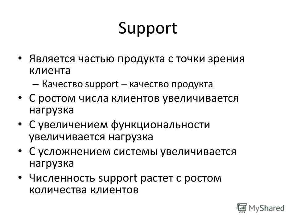 Support Является частью продукта с точки зрения клиента – Качество support – качество продукта C ростом числа клиентов увеличивается нагрузка C увеличением функциональности увеличивается нагрузка С усложнением системы увеличивается нагрузка Численнос
