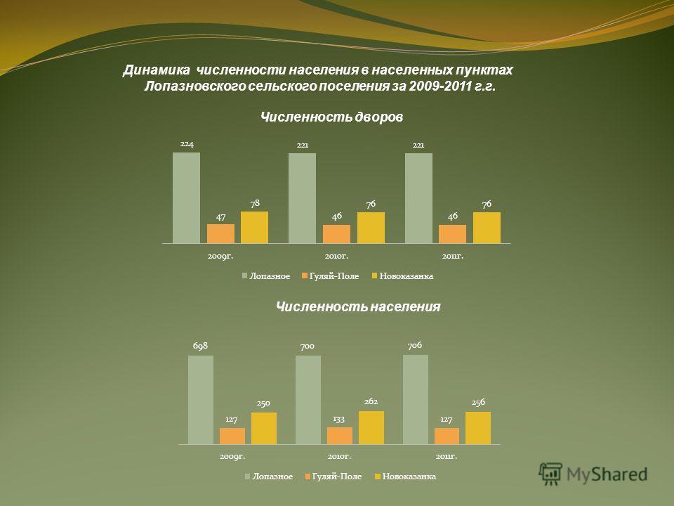 Динамика численности населения в населенных пунктах Лопазновского сельского поселения за 2009-2011 г.г. Численность населения Численность дворов