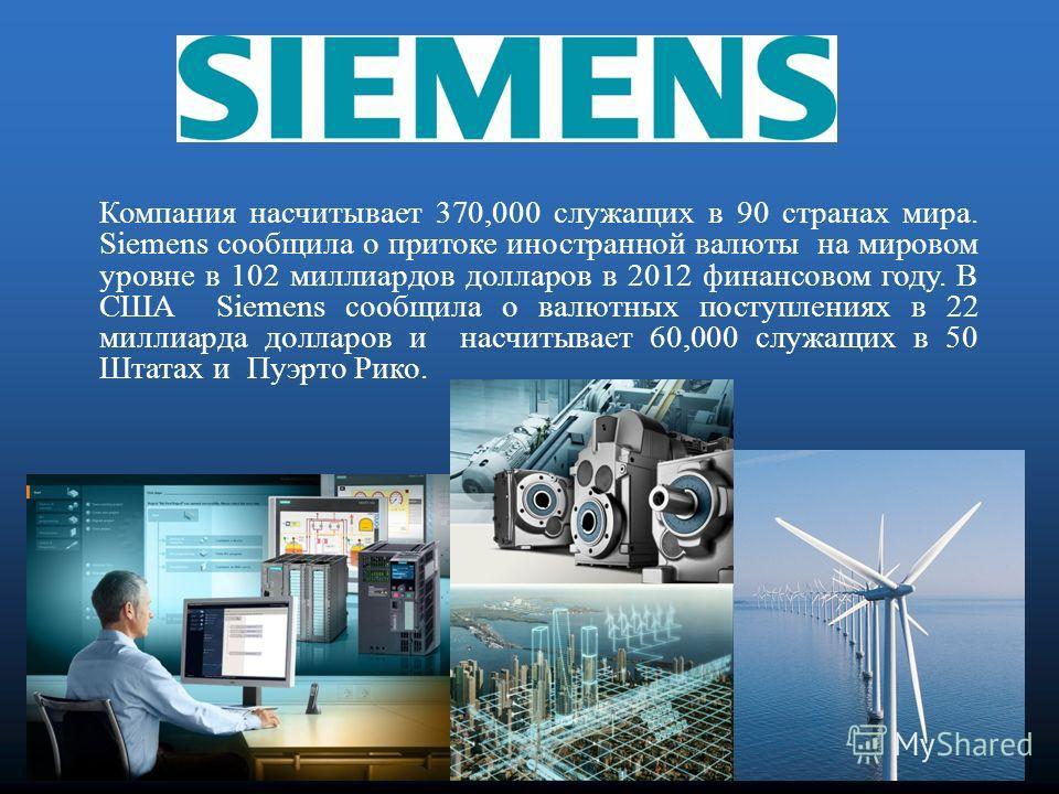 Компания Siemens в США является дочерним предприятием Siemens AG в Германии, самая крупная и мощная компания в области электроники и электротехники, ее продукты применяются в промышленности, энергетике, в здравоохранении и в государственном секторе п