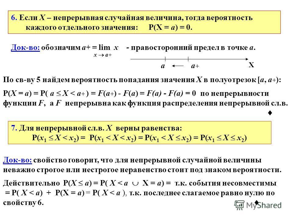6. Если X – непрерывная случайная величина, тогда вероятность каждого отдельного значения: P(X = a) = 0. Док-во: обозначим a + = lim x - правосторонний предел в точке a. x a+ По св-ву 5 найдем вероятность попадания значения X в полуотрезок [a, a + ):