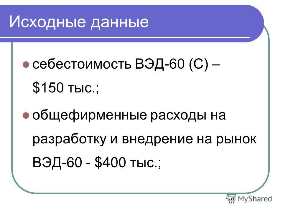 Исходные данные себестоимость ВЭД-60 (С) – $150 тыс.; общефирменные расходы на разработку и внедрение на рынок ВЭД-60 - $400 тыс.;