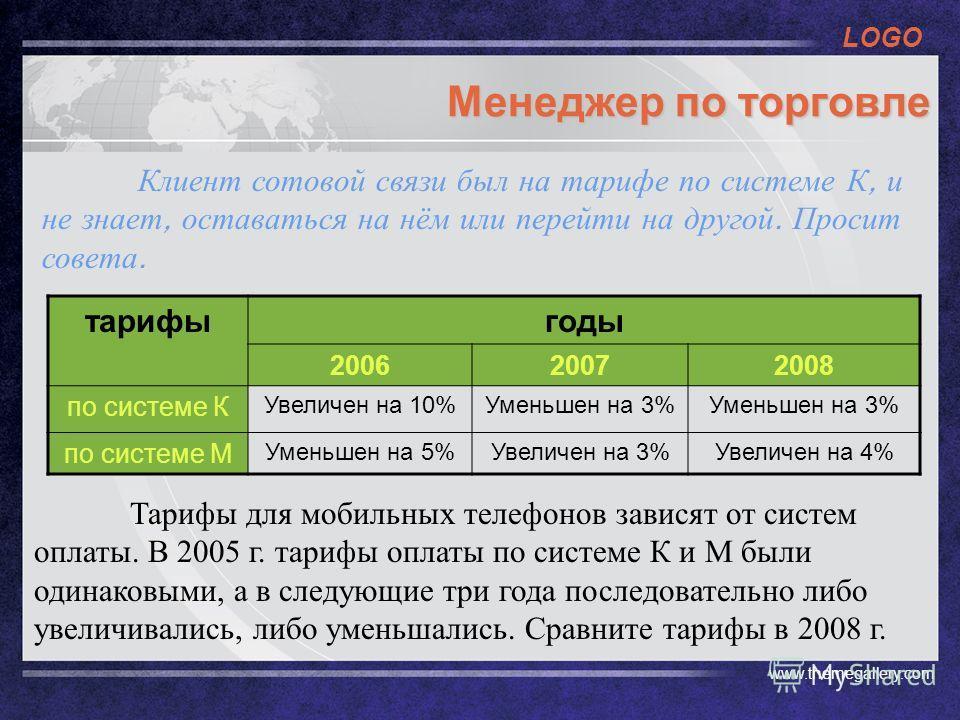 LOGO www.themegallery.com Менеджер по торговле тарифыгоды 200620072008 по системе К Увеличен на 10%Уменьшен на 3% по системе М Уменьшен на 5%Увеличен на 3%Увеличен на 4% Тарифы для мобильных телефонов зависят от систем оплаты. В 2005 г. тарифы оплаты