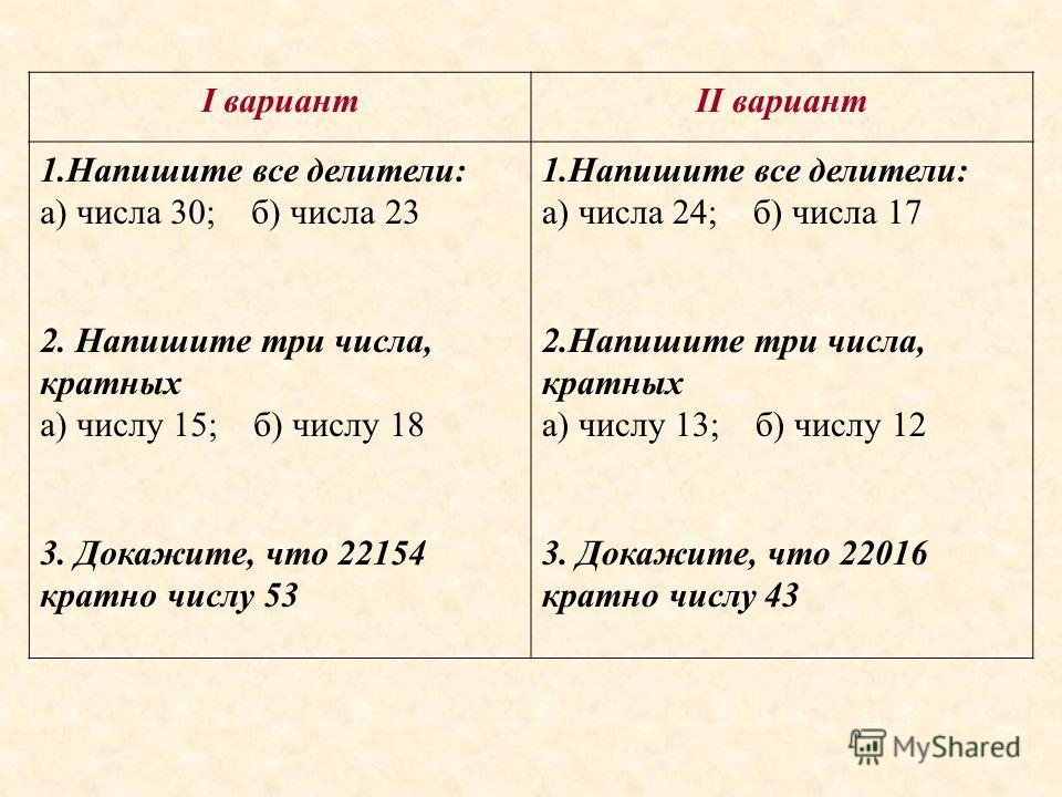 I вариантII вариант 1.Напишите все делители: а) числа 30; б) числа 23 2. Напишите три числа, кратных а) числу 15; б) числу 18 3. Докажите, что 22154 кратно числу 53 1.Напишите все делители: а) числа 24; б) числа 17 2.Напишите три числа, кратных а) чи