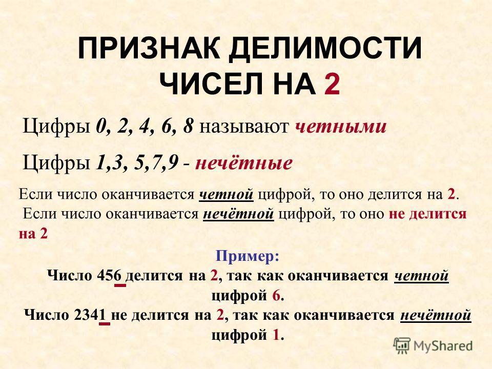 ПРИЗНАК ДЕЛИМОСТИ ЧИСЕЛ НА 2 Цифры 0, 2, 4, 6, 8 называют четными Цифры 1,3, 5,7,9 - нечётные Если число оканчивается четной цифрой, то оно делится на 2. Если число оканчивается нечётной цифрой, то оно не делится на 2 Пример: Число 456 делится на 2,