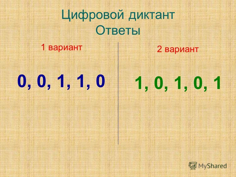 Цифровой диктант Ответы 1 вариант 0, 0, 1, 1, 0 2 вариант 1, 0, 1, 0, 1