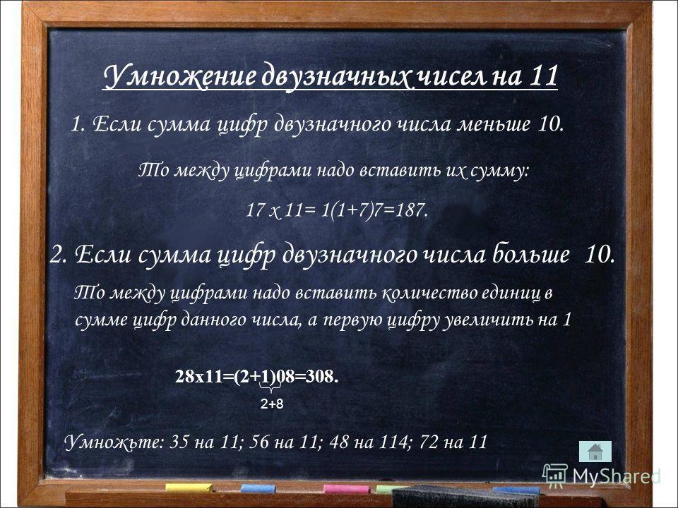Умножение двузначных чисел на 11 1. Если сумма цифр двузначного числа меньше 10. То между цифрами надо вставить их сумму: 17 х 11= 1(1+7)7=187. 2. Если сумма цифр двузначного числа больше 10. То между цифрами надо вставить количество единиц в сумме ц