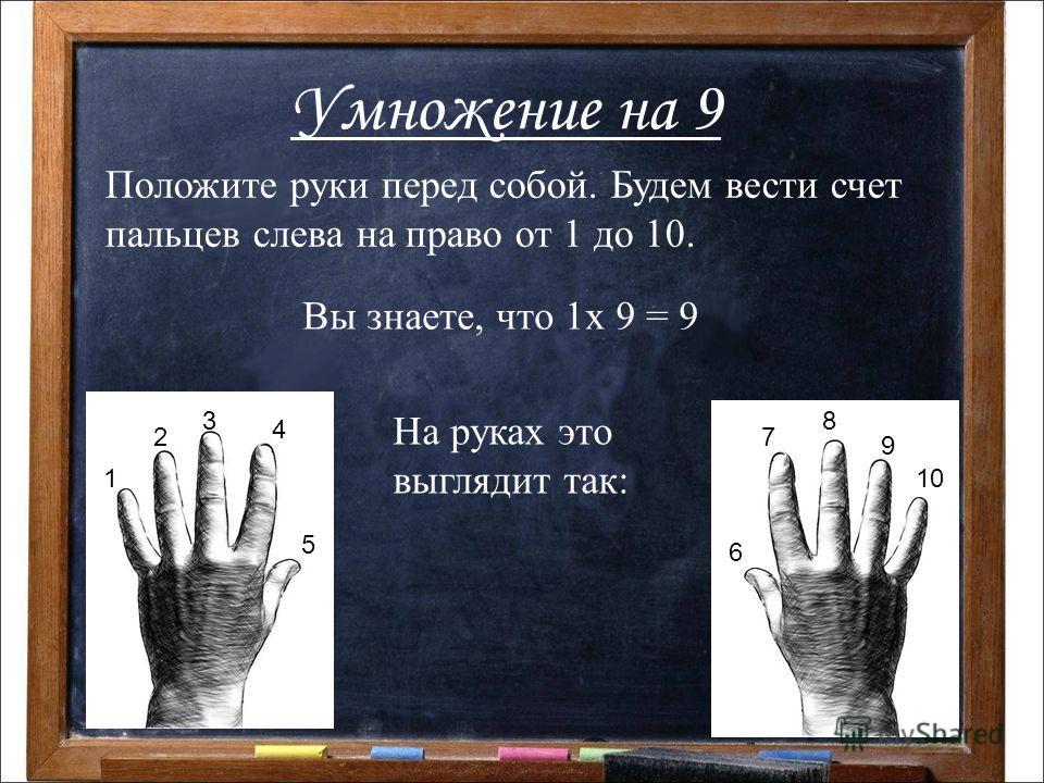 Умножение на 9 Положите руки перед собой. Будем вести счет пальцев слева на право от 1 до 10. 1 2 3 4 5 6 7 8 9 10 Вы знаете, что 1х 9 = 9 На руках это выглядит так: