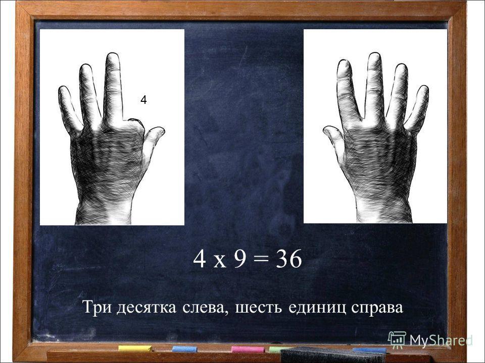 4 х 9 = 36 4 Три десятка слева, шесть единиц справа