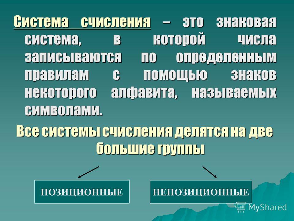 Система счисления – это знаковая система, в которой числа записываются по определенным правилам с помощью знаков некоторого алфавита, называемых символами. Все системы счисления делятся на две большие группы ПОЗИЦИОННЫЕНЕПОЗИЦИОННЫЕ