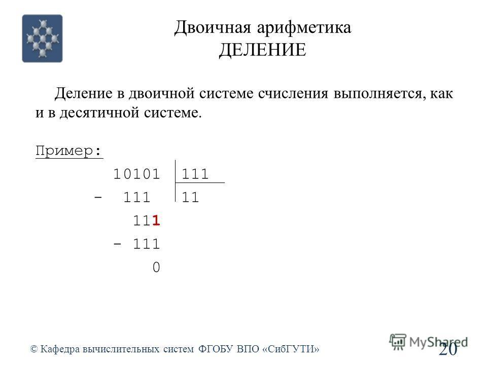 Двоичная арифметика ДЕЛЕНИЕ © Кафедра вычислительных систем ФГОБУ ВПО «СибГУТИ» 20 Деление в двоичной системе счисления выполняется, как и в десятичной системе. Пример: 10101 111 - 111 11 111 - 111 0
