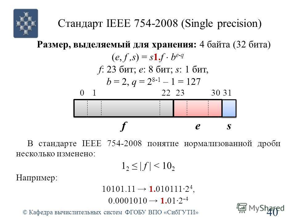 Стандарт IEEE 754-2008 (Single precision) 40 © Кафедра вычислительных систем ФГОБУ ВПО «СибГУТИ» Размер, выделяемый для хранения: 4 байта (32 бита) (e, f,s) = s1.f b e-q f: 23 бит; e: 8 бит; s: 1 бит, b = 2, q = 2 8-1 – 1 = 127 0 fes 313023221 В стан